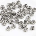 Metal spacer beads, Tibetan silver [an alloy of nickel and copper], Silver colour , Black , 6mm x 6mm x 2.5mm, 5 Beads, [ZYS0063]